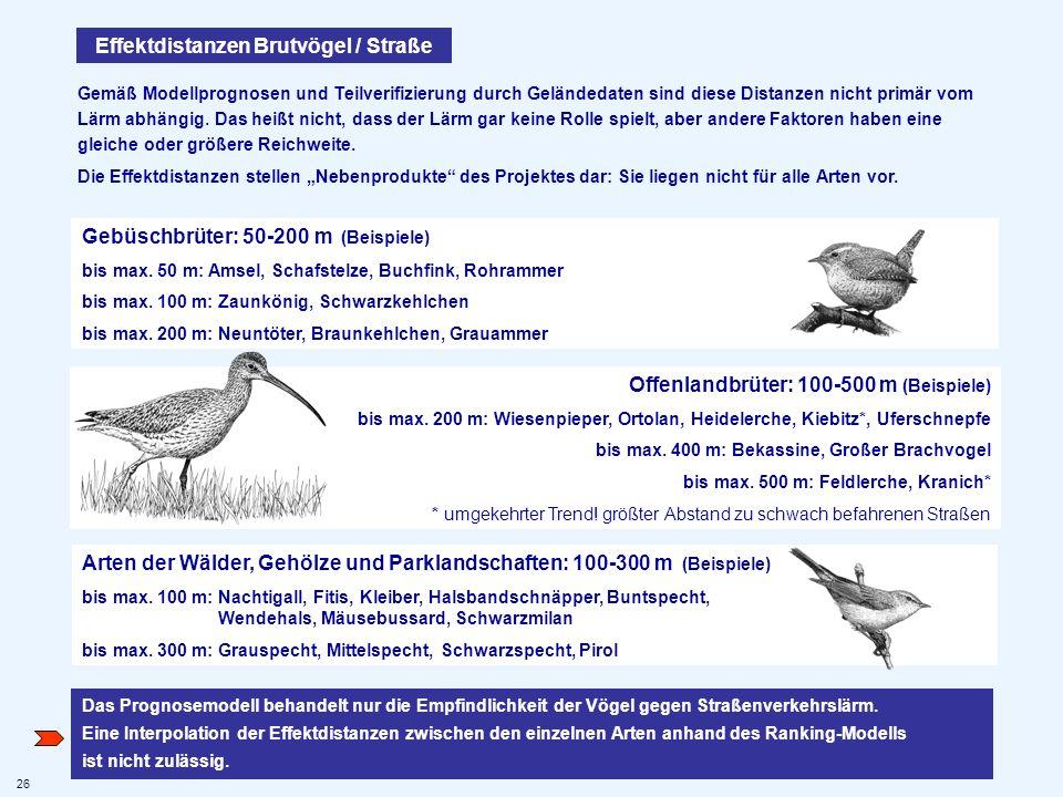 Effektdistanzen Brutvögel / Straße