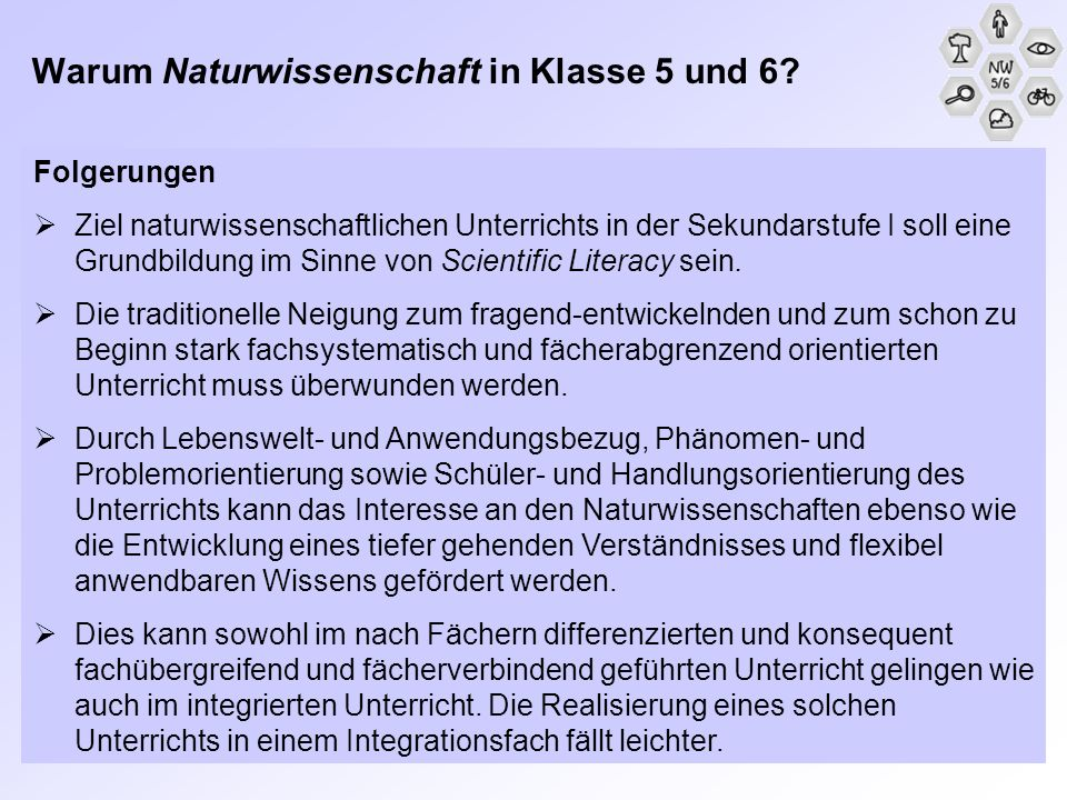 Warum Naturwissenschaft in Klasse 5 und 6