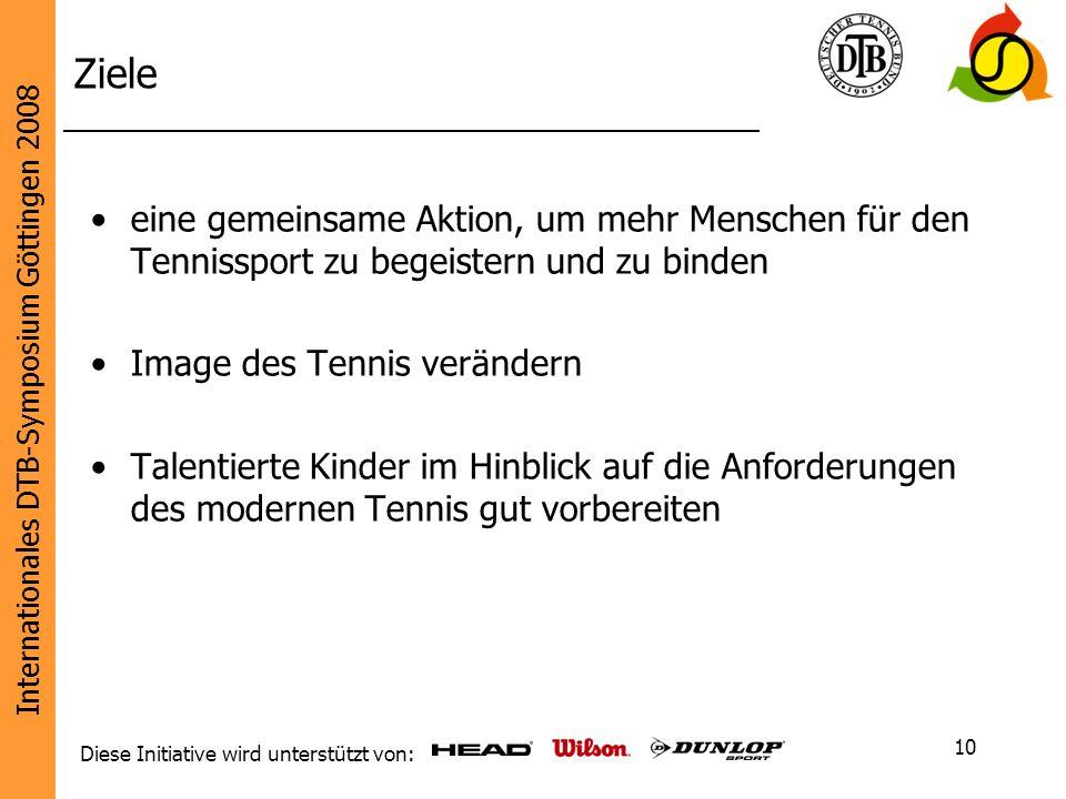 Ziele eine gemeinsame Aktion, um mehr Menschen für den Tennissport zu begeistern und zu binden. Image des Tennis verändern.