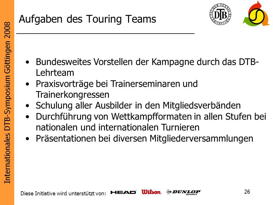 Aufgaben des Touring Teams