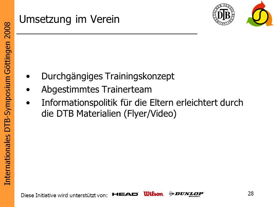 Umsetzung im Verein Durchgängiges Trainingskonzept