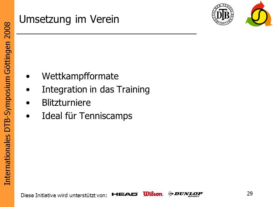 Umsetzung im Verein Wettkampfformate Integration in das Training