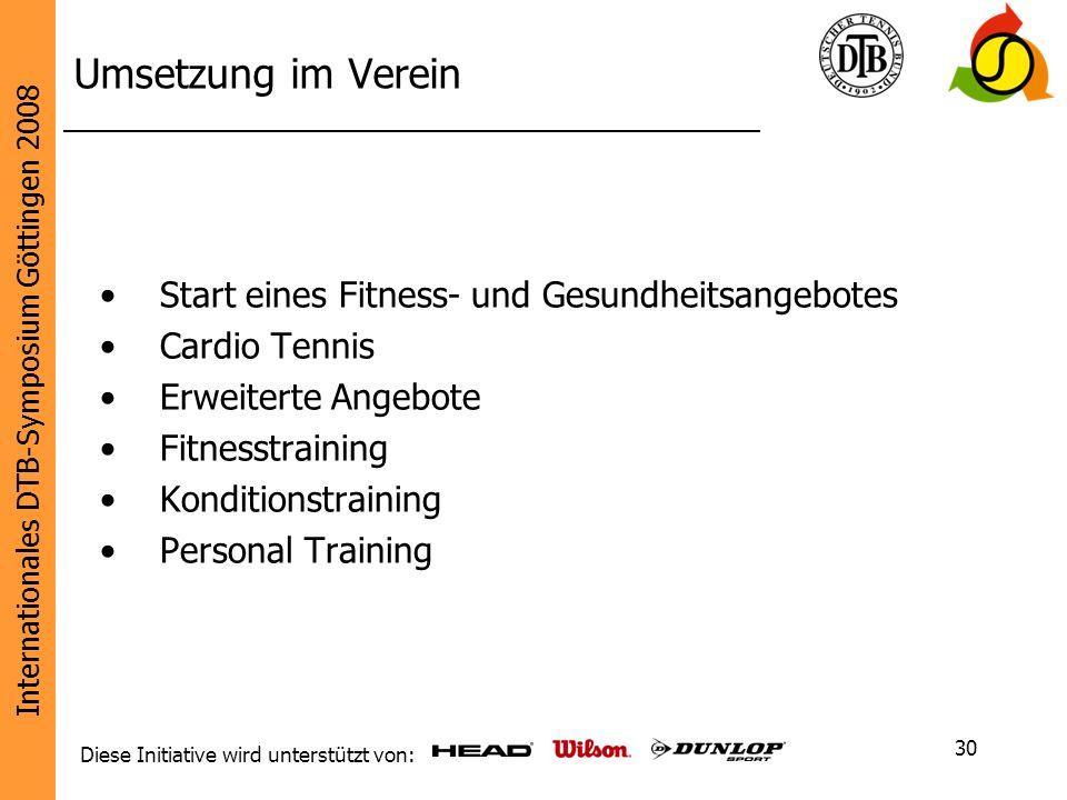 Umsetzung im Verein Start eines Fitness- und Gesundheitsangebotes