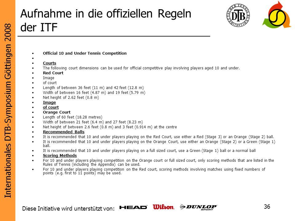 Aufnahme in die offiziellen Regeln der ITF