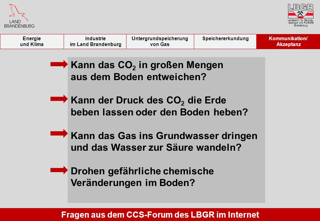 Untergrundspeicherung von Gas