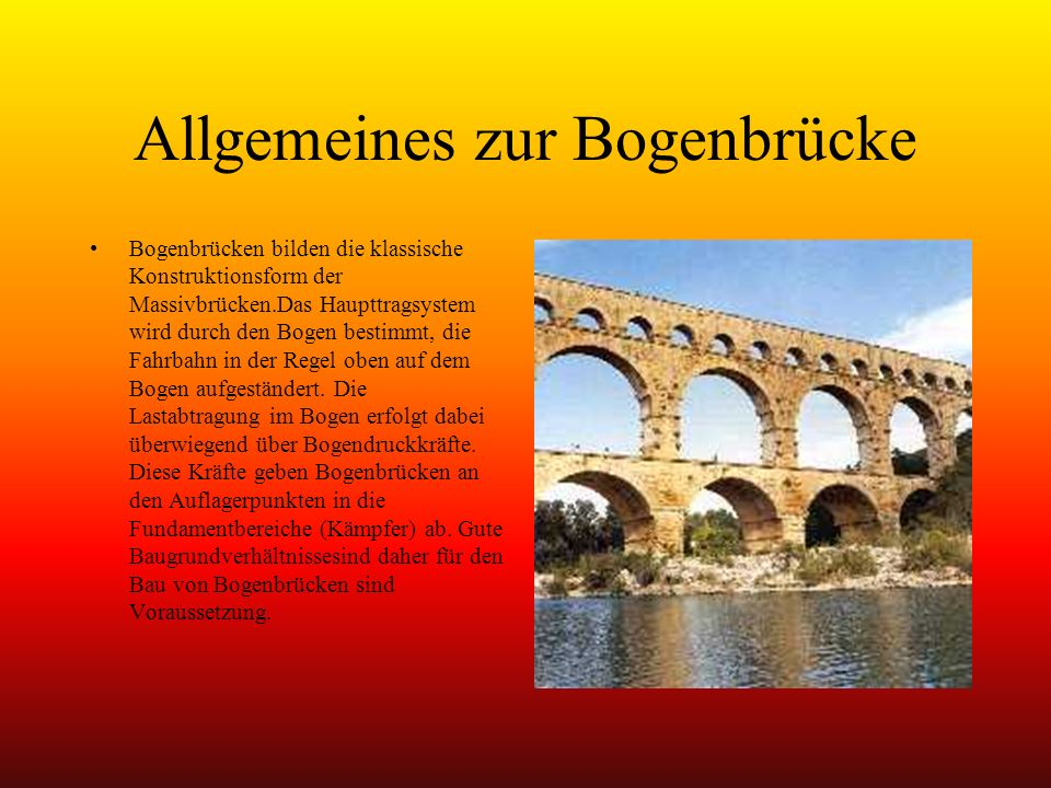 Allgemeines zur Bogenbrücke