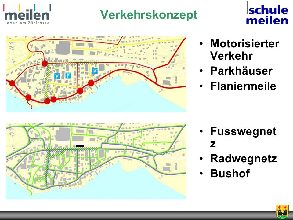 Verkehrskonzept Motorisierter Verkehr Parkhäuser Flaniermeile