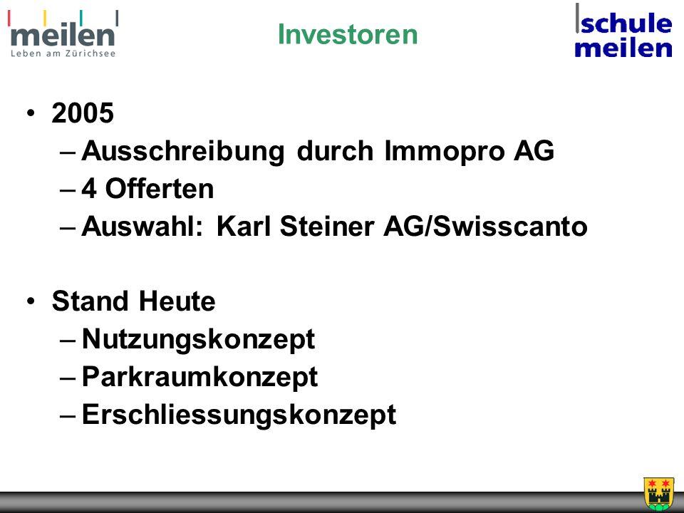 Investoren 2005. Ausschreibung durch Immopro AG. 4 Offerten. Auswahl: Karl Steiner AG/Swisscanto.