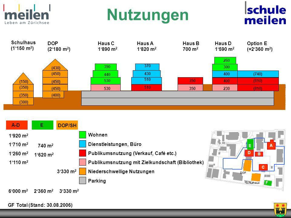 Nutzungen Schulhaus (1'150 m2) DOP (2'180 m2) Haus C 1'890 m2 Haus A