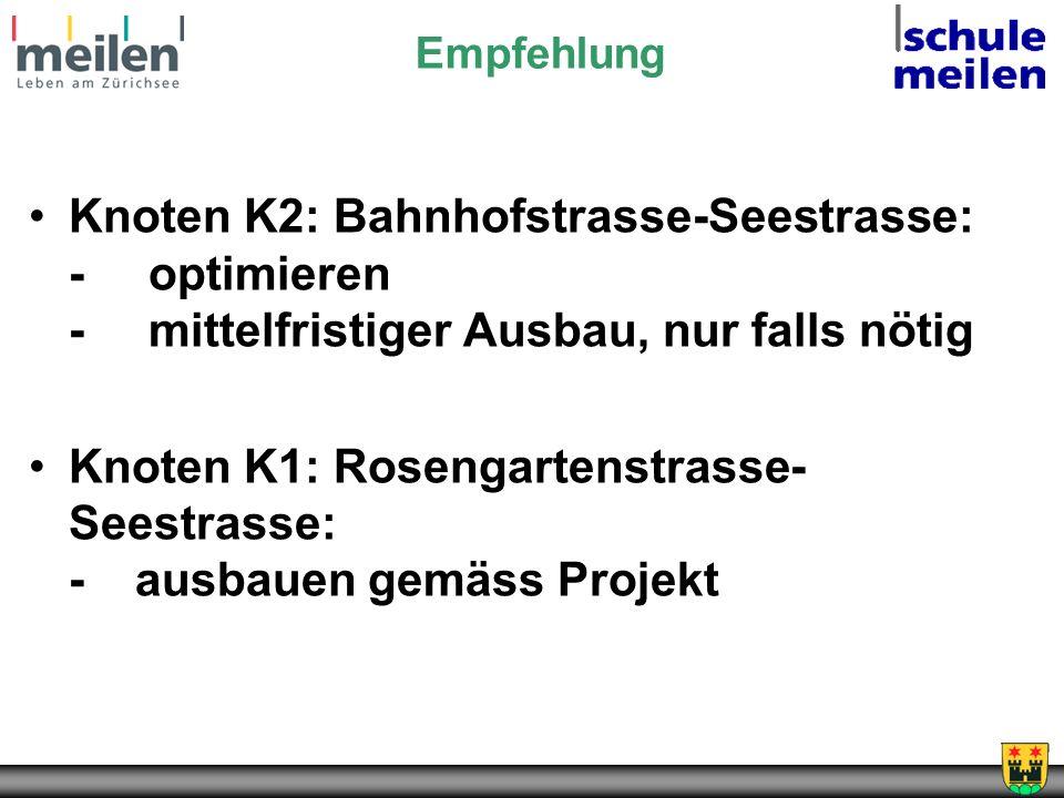 Knoten K1: Rosengartenstrasse-Seestrasse: - ausbauen gemäss Projekt