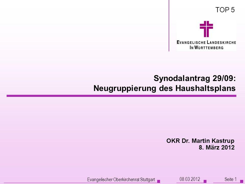 Synodalantrag 29/09: Neugruppierung des Haushaltsplans