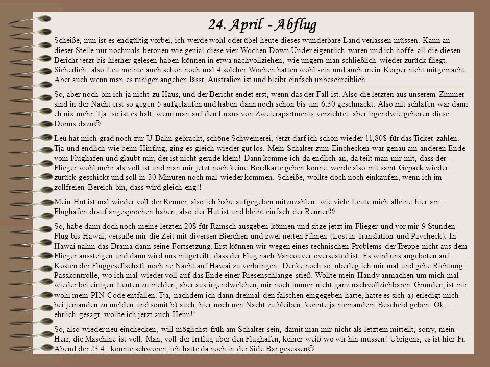 24. April - Abflug