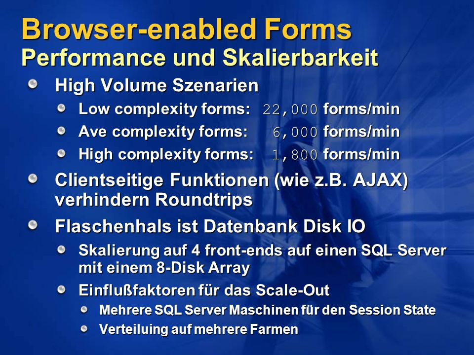 Browser-enabled Forms Performance und Skalierbarkeit