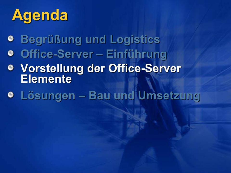 Agenda Begrüßung und Logistics Office-Server – Einführung