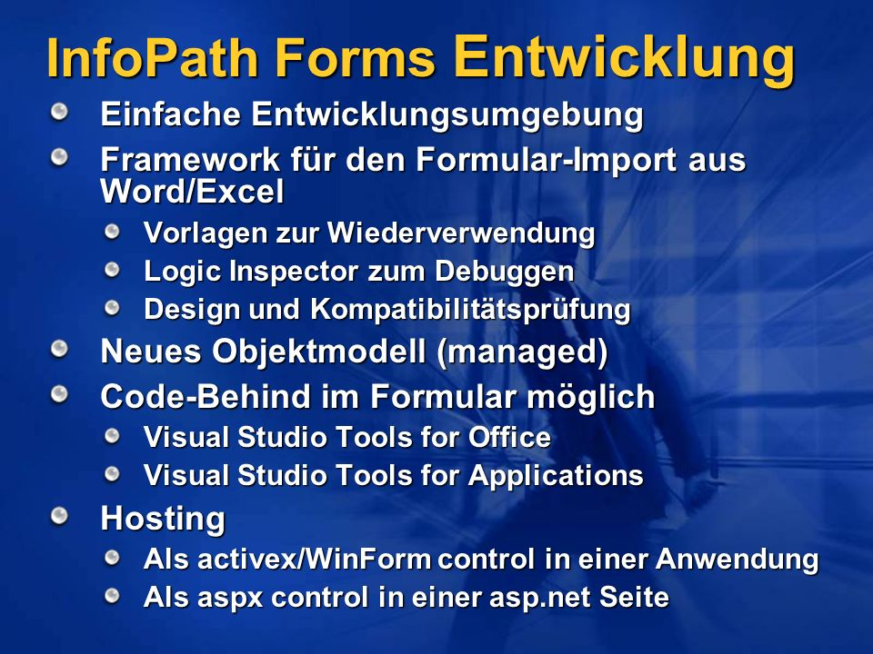 InfoPath Forms Entwicklung
