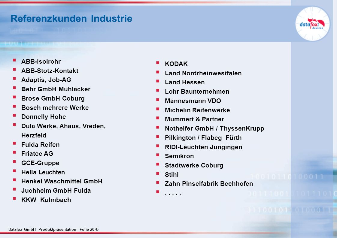 Referenzkunden Industrie