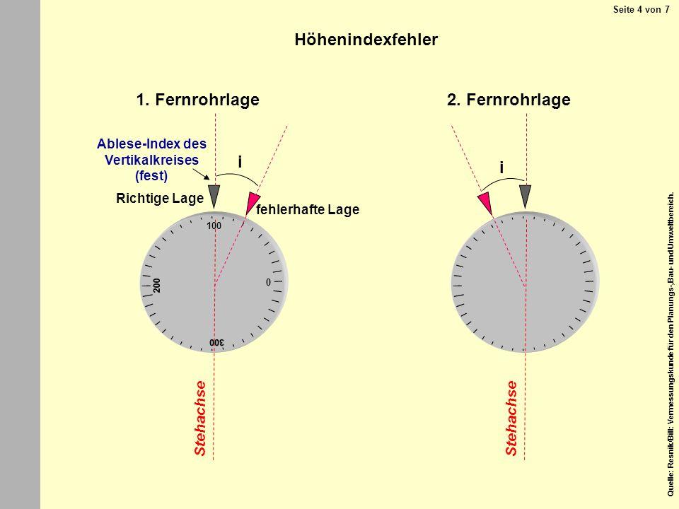 Höhenindexfehler 1. Fernrohrlage 2. Fernrohrlage i i Stehachse