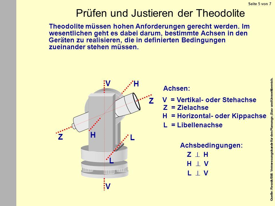 Prüfen und Justieren der Theodolite