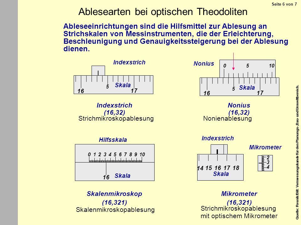 Ablesearten bei optischen Theodoliten
