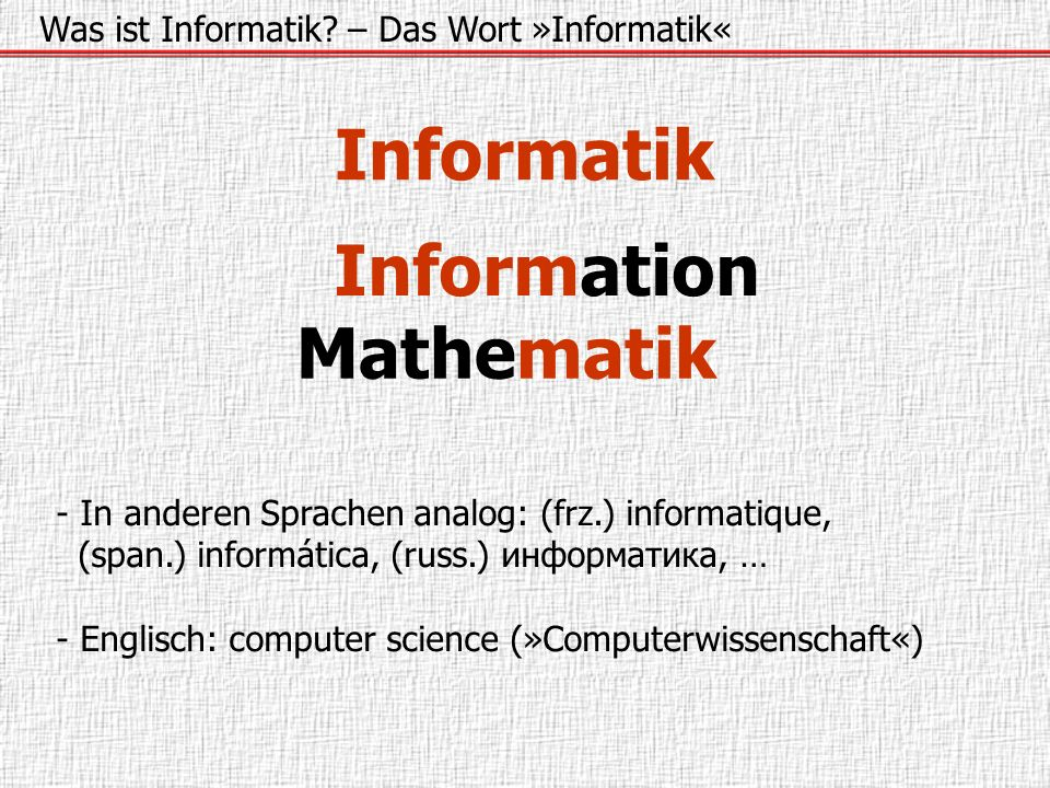 Informatik Information Mathematik