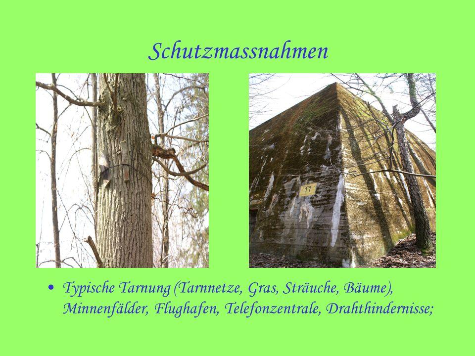 Schutzmassnahmen Typische Tarnung (Tarnnetze, Gras, Sträuche, Bäume), Minnenfälder, Flughafen, Telefonzentrale, Drahthindernisse;