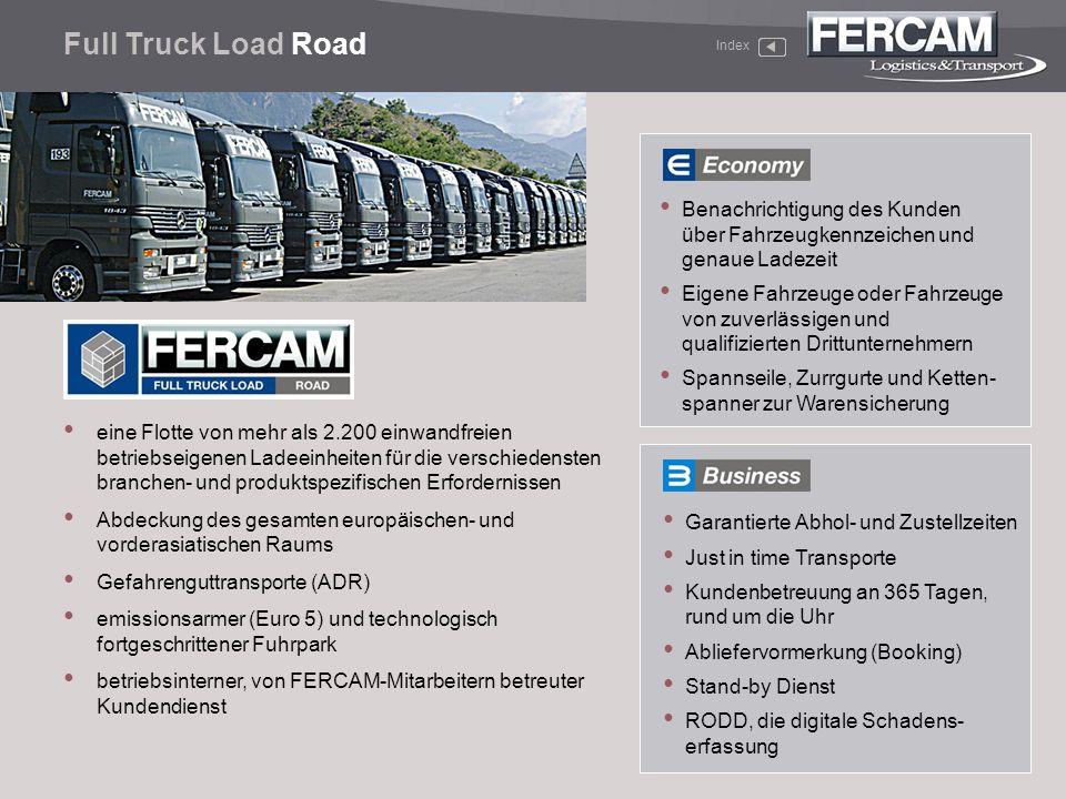 Full Truck Load Road Index. Benachrichtigung des Kunden über Fahrzeugkennzeichen und genaue Ladezeit.