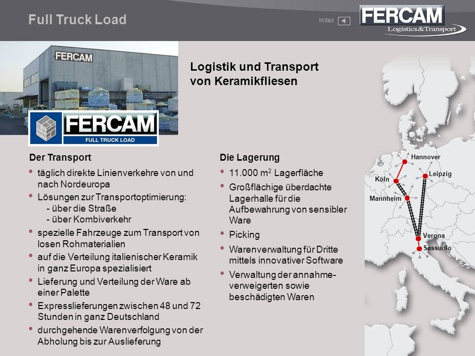Full Truck Load Logistik und Transport von Keramikfliesen