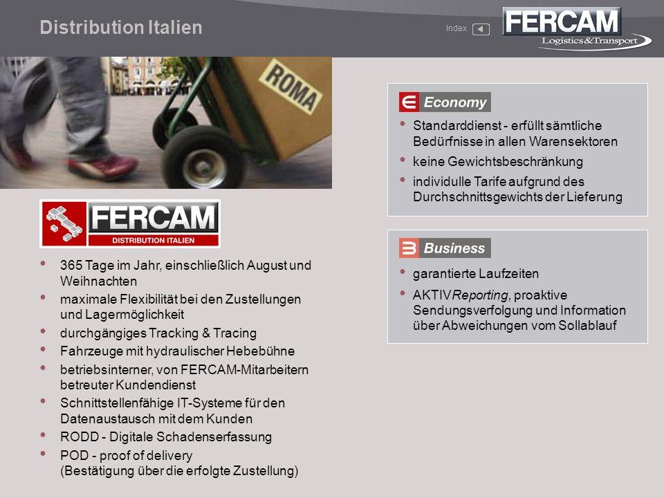 Distribution Italien Index. Standarddienst - erfüllt sämtliche Bedürfnisse in allen Warensektoren.