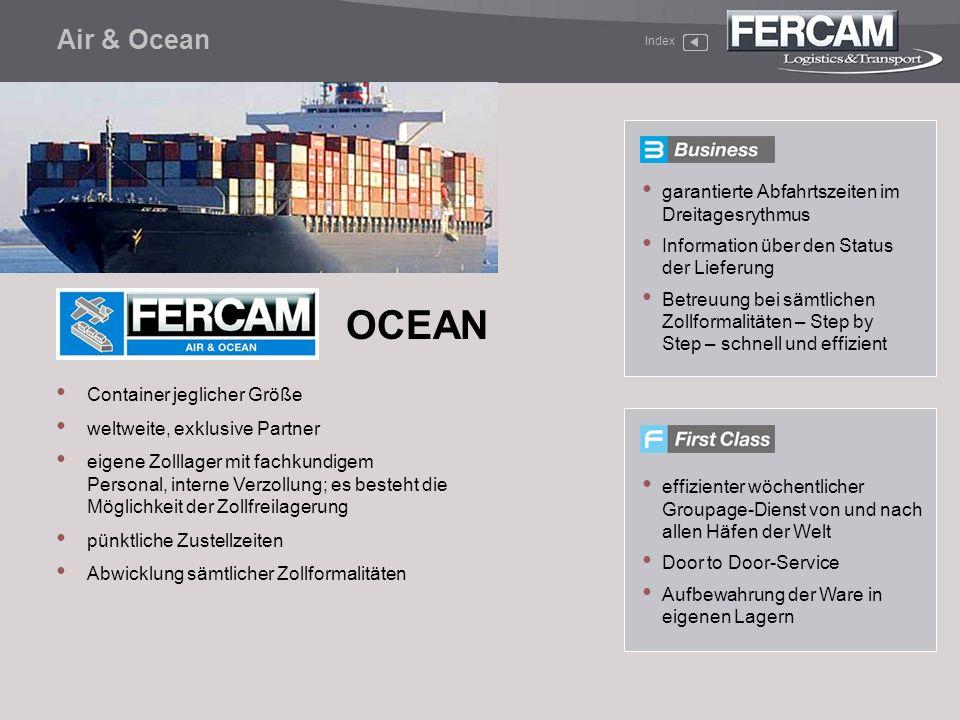 OCEAN Air & Ocean garantierte Abfahrtszeiten im Dreitagesrythmus