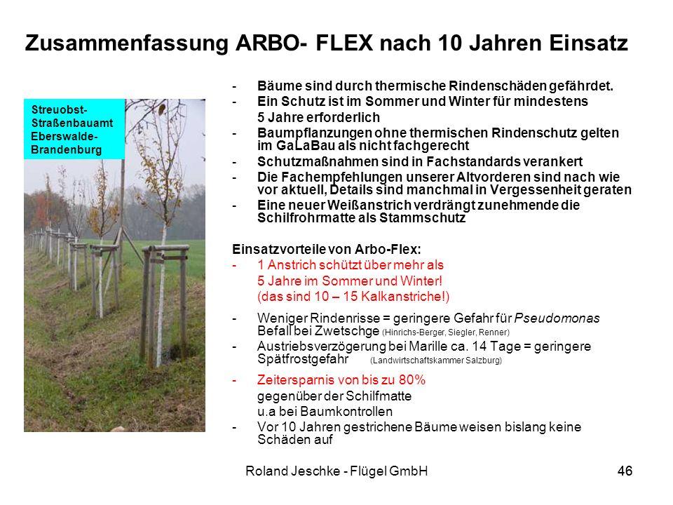 Zusammenfassung ARBO- FLEX nach 10 Jahren Einsatz