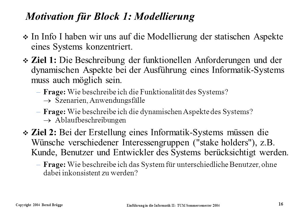 Motivation für Block 1: Modellierung