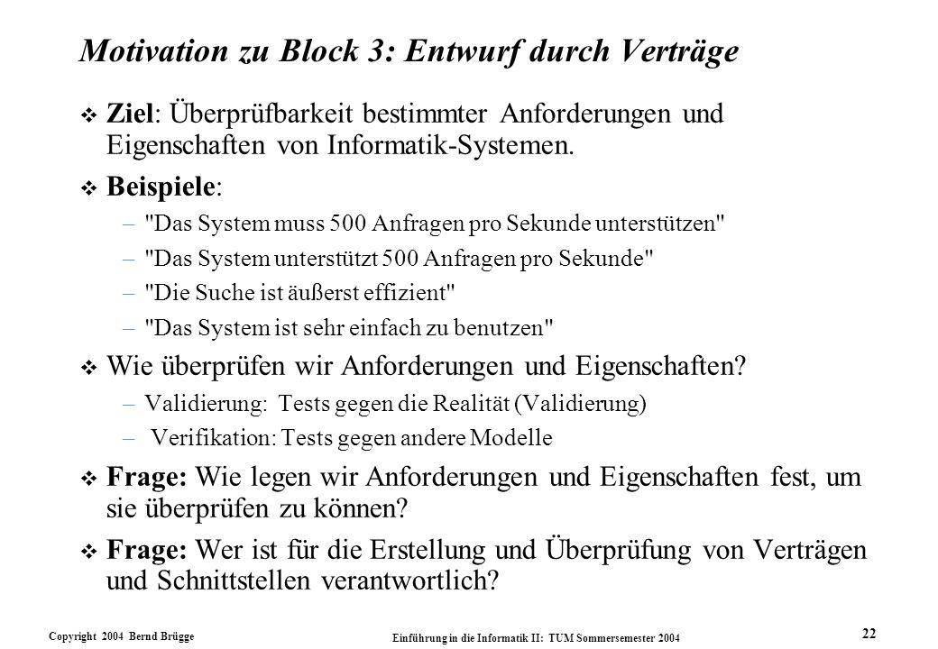Motivation zu Block 3: Entwurf durch Verträge