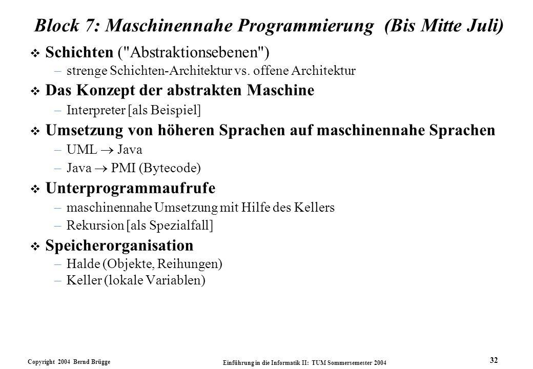 Block 7: Maschinennahe Programmierung (Bis Mitte Juli)