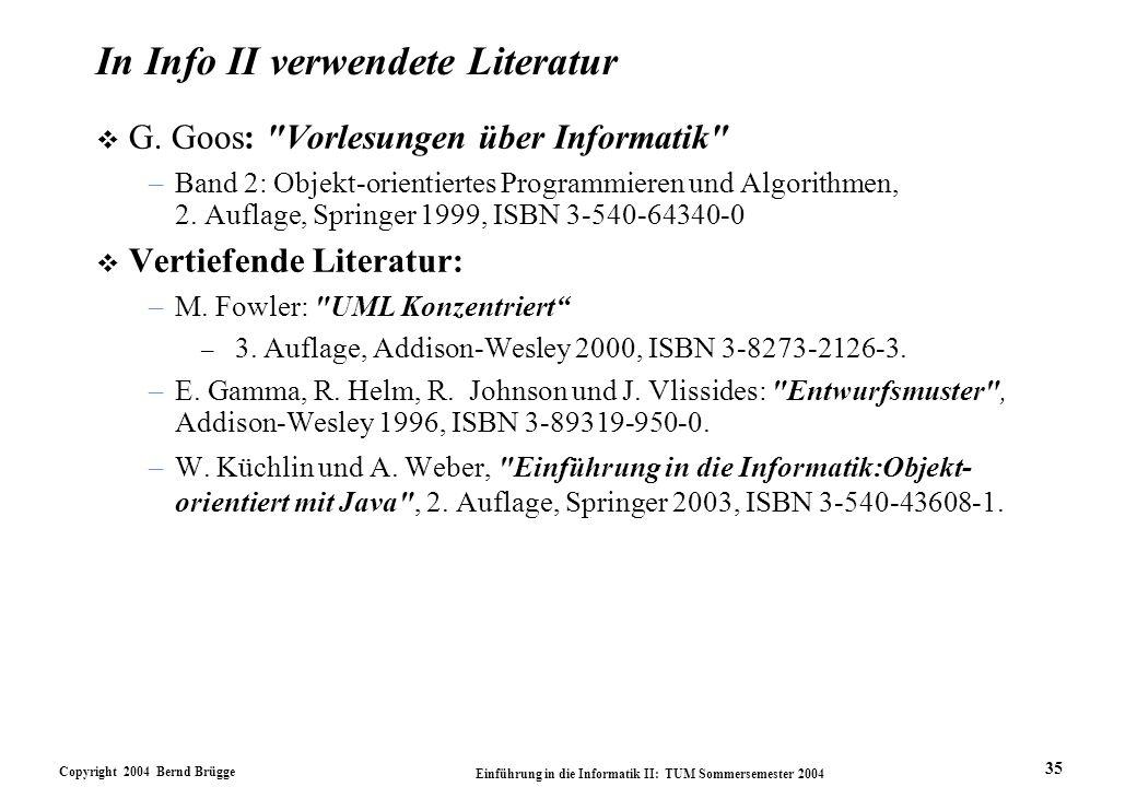 In Info II verwendete Literatur