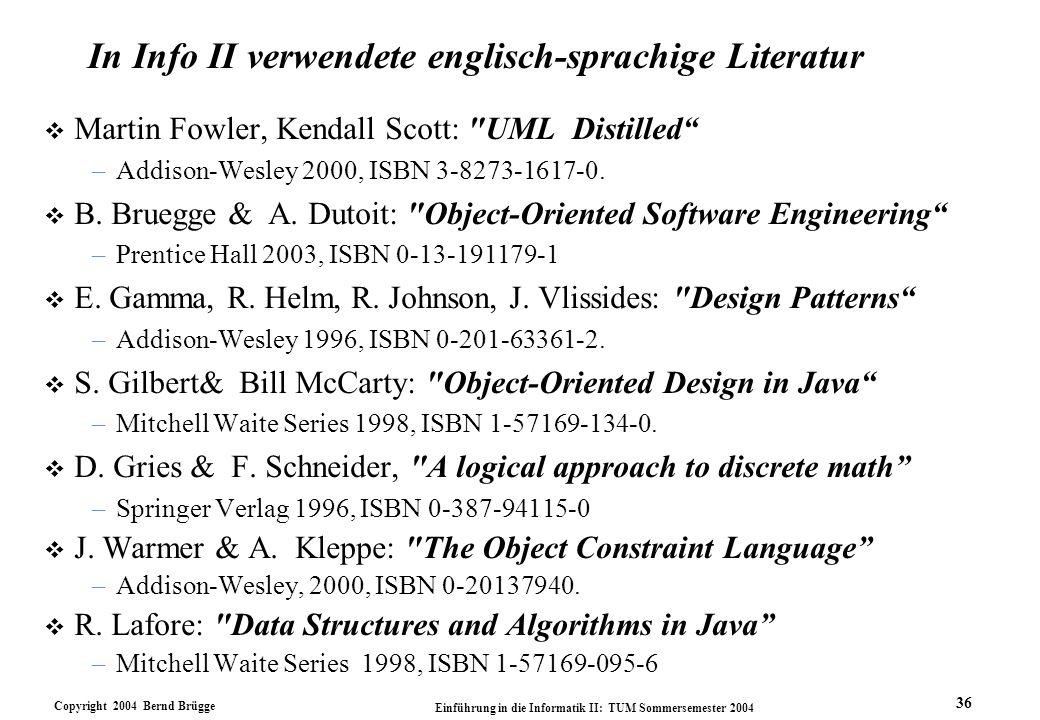 In Info II verwendete englisch-sprachige Literatur