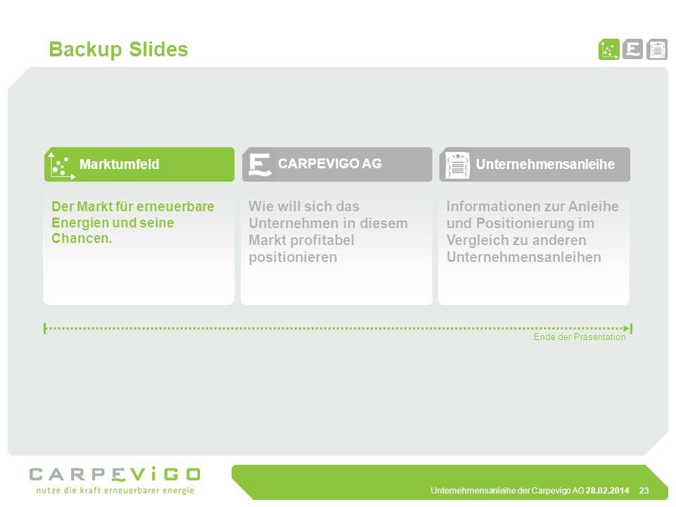Backup Slides Marktumfeld. CARPEVIGO AG. Unternehmensanleihe. Der Markt für erneuerbare Energien und seine Chancen.