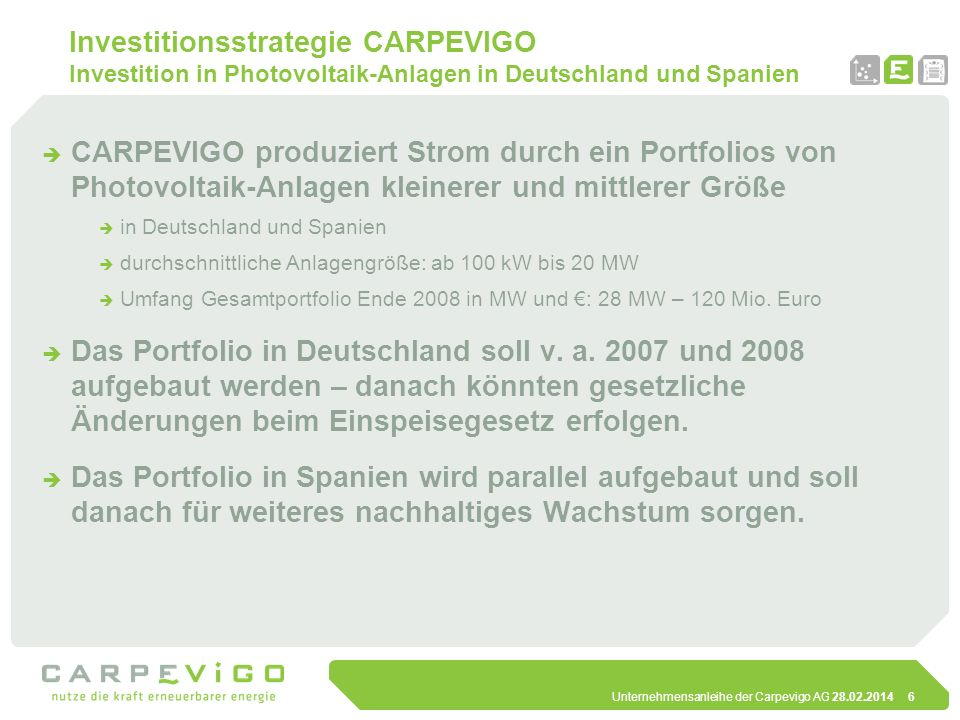 Investitionsstrategie CARPEVIGO Investition in Photovoltaik-Anlagen in Deutschland und Spanien