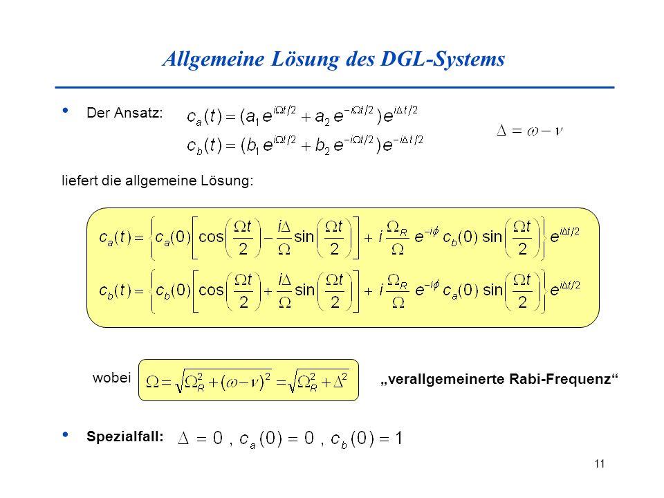 Allgemeine Lösung des DGL-Systems