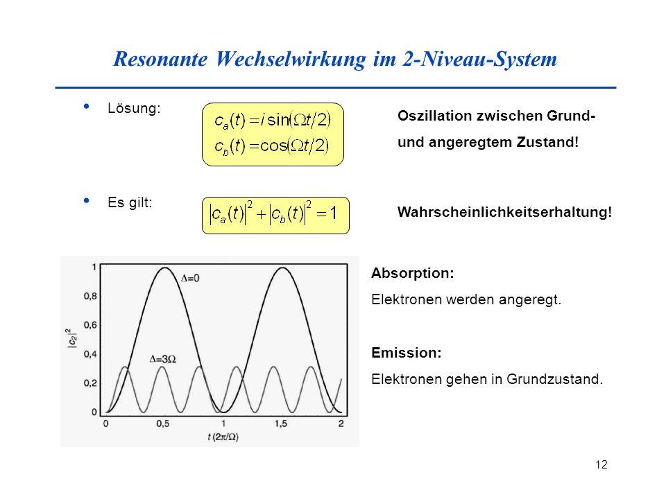 Resonante Wechselwirkung im 2-Niveau-System