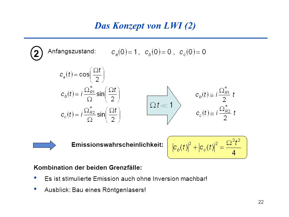 Das Konzept von LWI (2) 2 Anfangszustand: Emissionswahrscheinlichkeit: