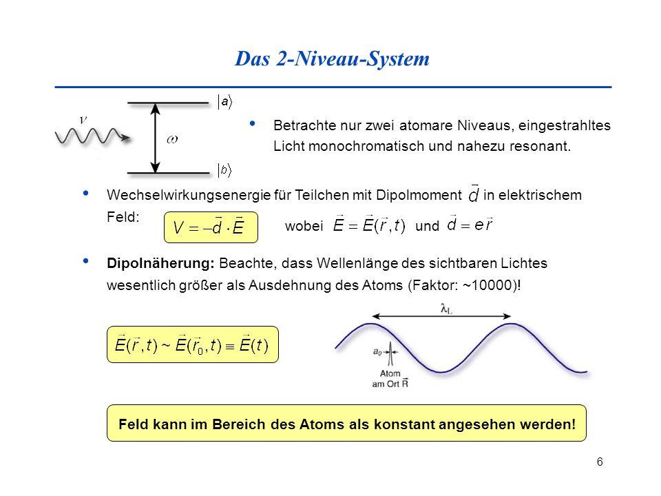 Das 2-Niveau-System Betrachte nur zwei atomare Niveaus, eingestrahltes