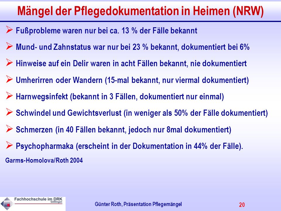 Mängel der Pflegedokumentation in Heimen (NRW)