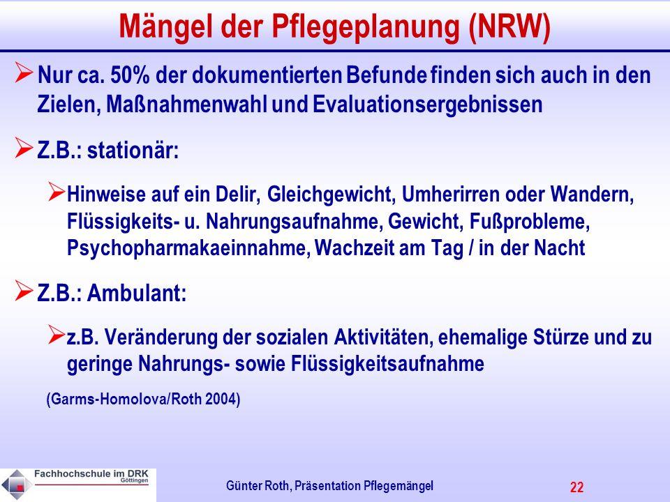 Mängel der Pflegeplanung (NRW)
