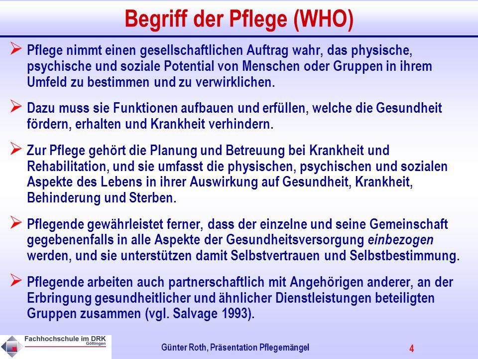 Begriff der Pflege (WHO)