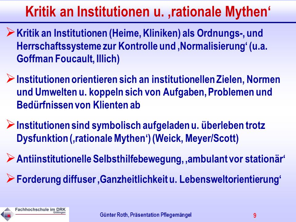 Kritik an Institutionen u. 'rationale Mythen'