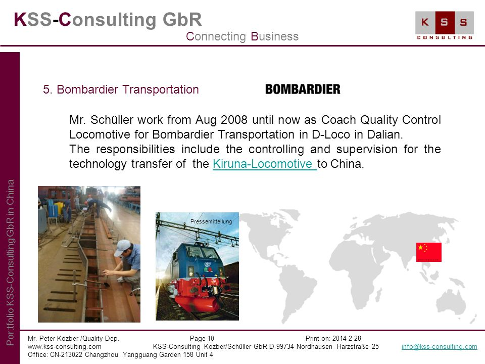 KSS-Consulting GbR Connecting Business 5. Bombardier Transportation