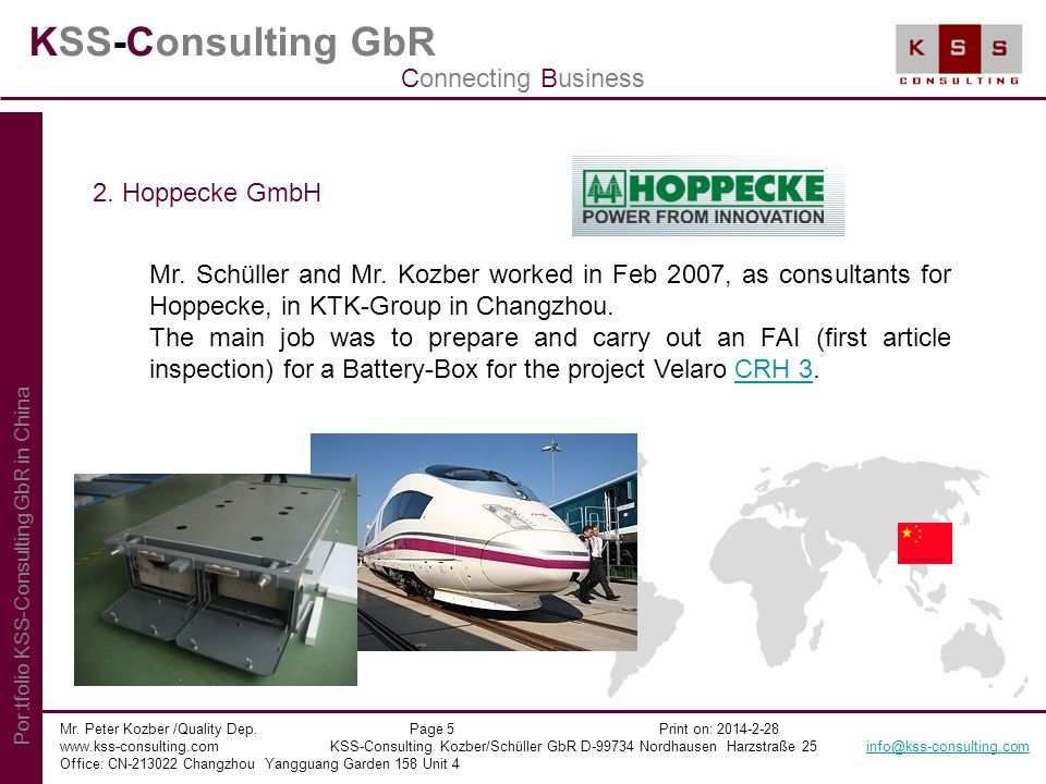 KSS-Consulting GbR Connecting Business 2. Hoppecke GmbH