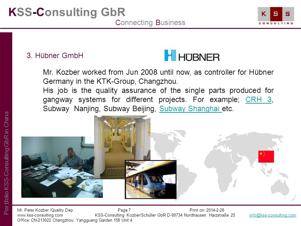 KSS-Consulting GbR Connecting Business 3. Hübner GmbH