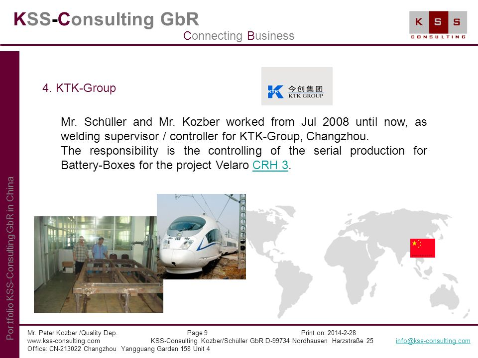 KSS-Consulting GbR Connecting Business 4. KTK-Group