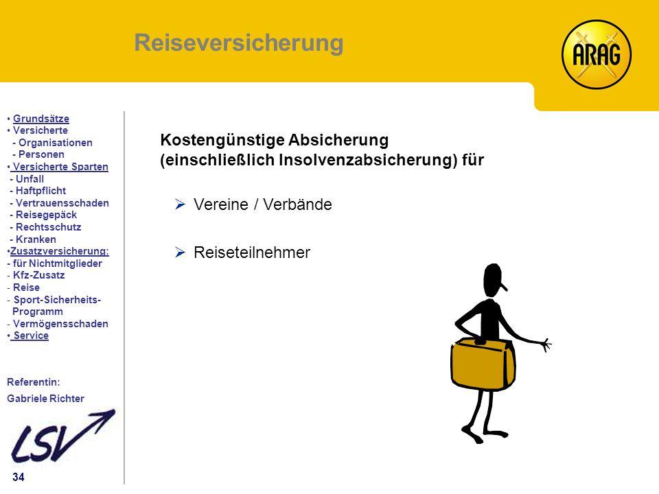 Reiseversicherung Kostengünstige Absicherung (einschließlich Insolvenzabsicherung) für. Vereine / Verbände.